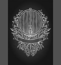 Graphic wine barrel decorated with bunches of vector