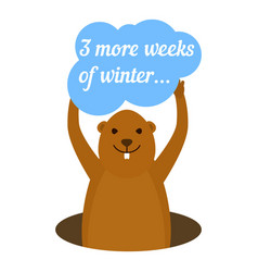 Groundhog 3 more weeks of winter icon flat style vector