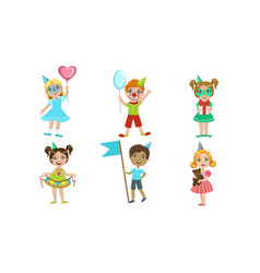 happy kids celebrating party with balloons party vector image