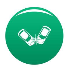 Hard collision icon green vector