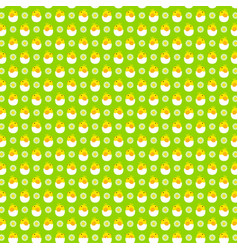 hatching egg baby chick pattern on green vector image