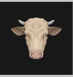 Head of cow face of of farm animal hand drawn vector
