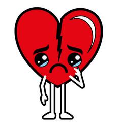 Heart love broken kawaii character vector