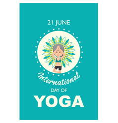 International day yoga banner with old woman vector