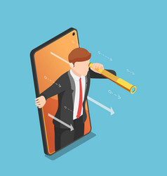 Isometric businessman with telescope come out vector