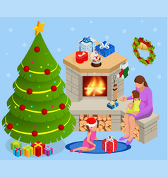isometric interior christmas glowing christmas vector image