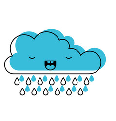 kawaii cloud with rain in watercolor silhouette vector image