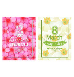 ladies day love spring 8 march calligraphy print vector image