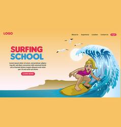 landing page cartoon happy surfing concept vector image