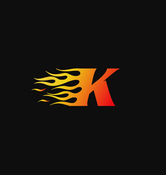 letter k burning flame logo design template vector image