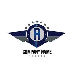 letter r shield logo vector image