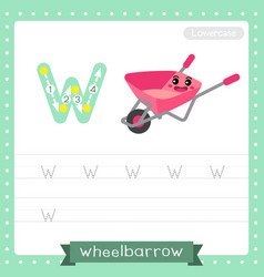 Letter w lowercase tracing practice worksheet vector