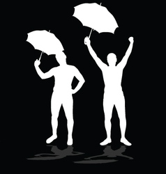 man silhouettes with umbrellas vector image