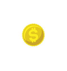 money coin dollar one piece gold currency vector image