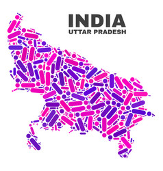 mosaic uttar pradesh state map of dots and lines vector image