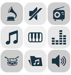 music icons set with mixer piano drum and other vector image