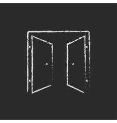 Open doors icon drawn in chalk vector