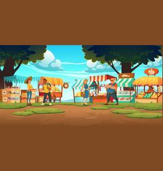 outdoor farm market stalls vendors and clients vector image