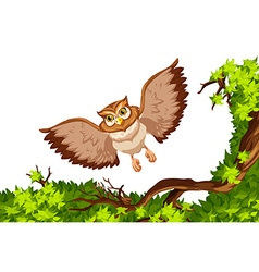 Owl flying over the tree vector