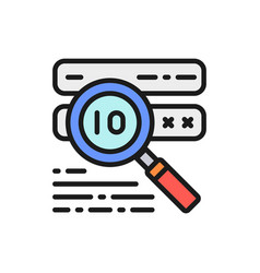 Password check virus scan flat color line icon vector