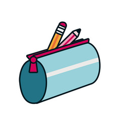 Pencil case with colors icon line and fill style vector