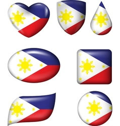Philippines flag in various shape glossy button vector image