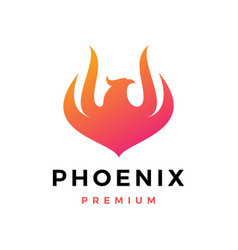 Phoenix fire frame logo icon vector