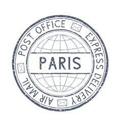 Postal stamp with paris france title round gray vector