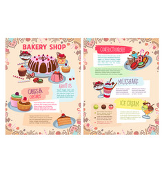 poster of bakery sweet desserts and cakes vector image