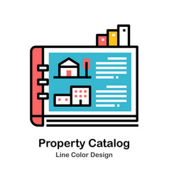 Property catalog line color icon vector