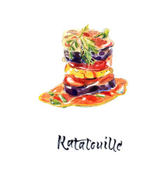 Ratatouille - traditional french vegetable dish vector