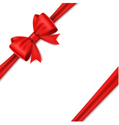realistic red bow on white background vector image