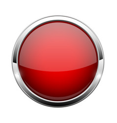 Red glass button shiny round 3d web icon vector