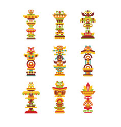 Religious totem set colorful native cultural vector