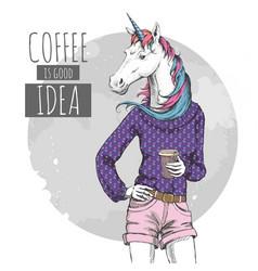 Retro hipster fashion fantasy animal unicorn vector