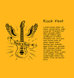 rock and roll fest poster vector image