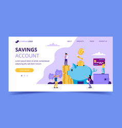 Saving money landing page - with vector