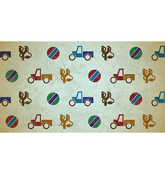 Seamless aged pattern with toys vector image