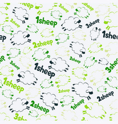 seamless pattern - sheeps on the green vector image