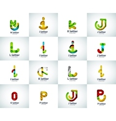 set of abstract unusual web letter logo vector image