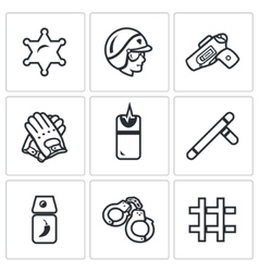 set police icons sheriff law weapon vector image