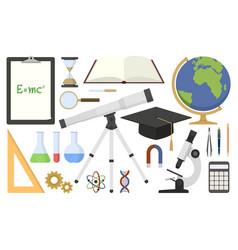 set scientific tools in flat design vector image