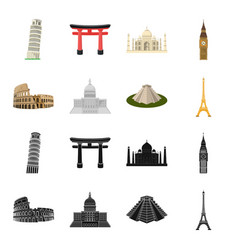 sights of different countries blackcartoon icons vector image