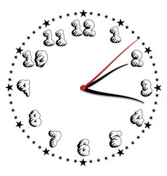 Simple black and white style clock twenty-fourth vector