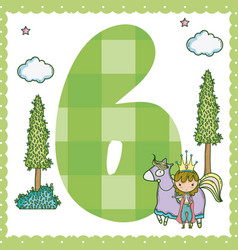 six number cartoon vector image
