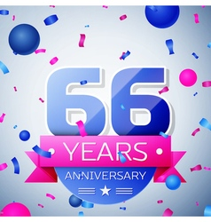 Sixty six years anniversary celebration on grey vector image
