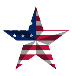 star shape with american flag vector image