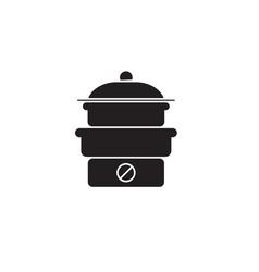 steam cooker black concept icon steam vector image
