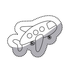 Sticker silhouette cartoon jet airplane transport vector