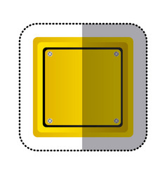 Sticker yellow square shape traffic sign icon vector